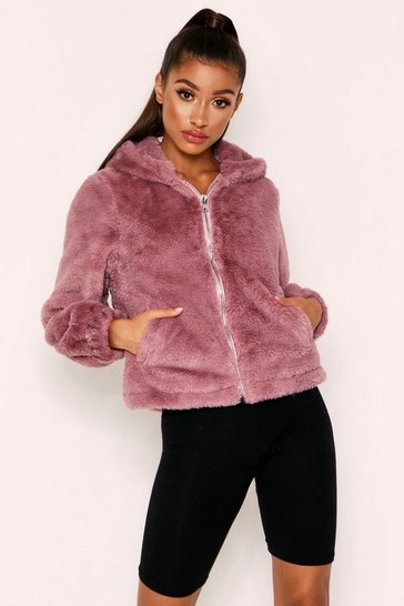 Blush Hooded Teddy Coat