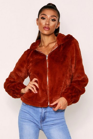 Womens Camel Hooded Teddy Coat