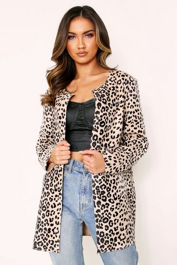 Womens Animal Print Long Line Jacket