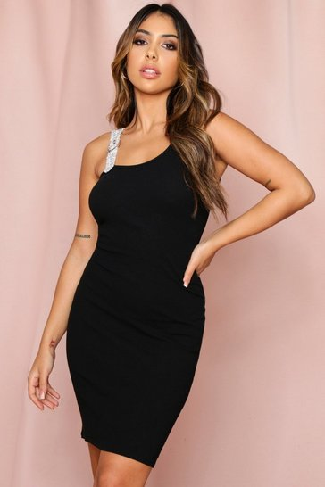 Black Diamante strap Dress