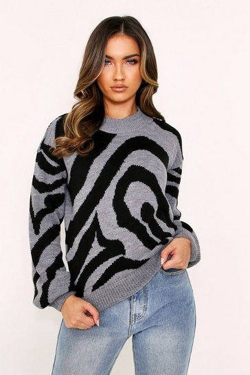 Womens Grey Animal Print Knitted Jumper