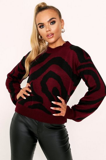 Wine Animal Print Knitted Jumper