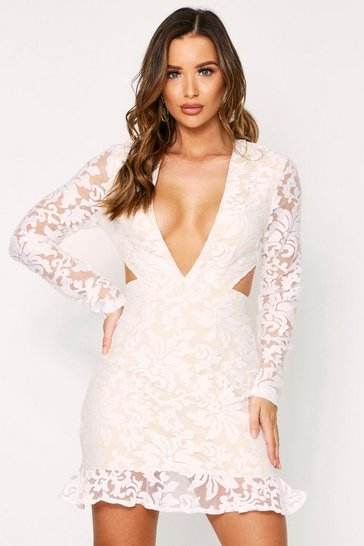 White Embroidered Organza Cut Out Dress