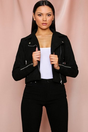 Black Zip Detail Faux Suede Biker Jacket