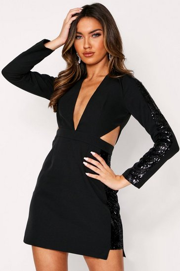 Womens Black Cut Out Sequin Panel Plunge Dress