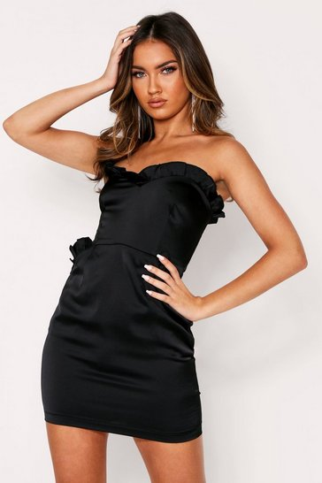 Black Satin Frill Detail Bandeau Dress