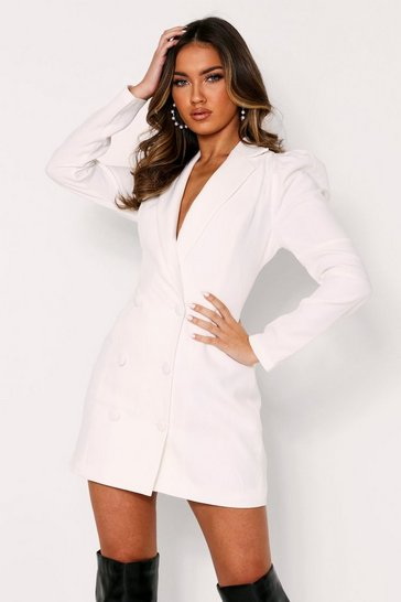White Puff Shoulder Double Breasted Blazer Dress