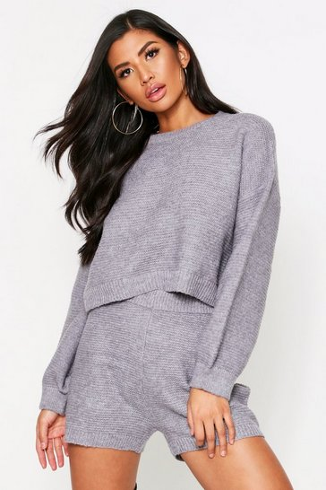 Grey marl Balloon Sleeve Fluffy Knitted Short Lounge Set