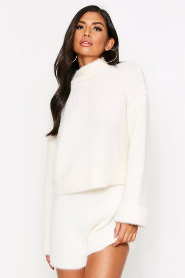 Cream Turtle Neck Fluffy Knitted Short Lounge Set