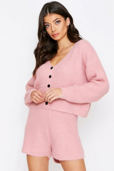 Dusty rose Fluffy Knit Button Front Shorts Lounge Set