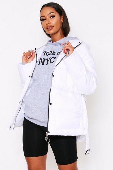 White Hooded Belted Padded Jacket