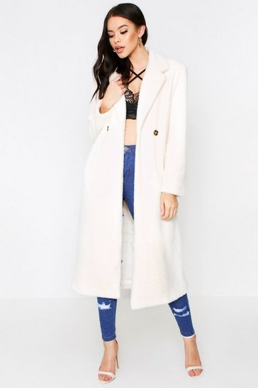 Cream Faux Fur Oversized Long Coat