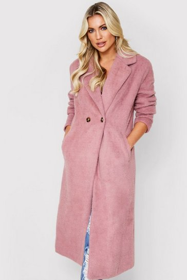 Dusky pink Faux Fur Oversized Long Coat