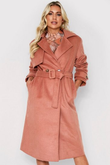 Camel Brushed Wool Look Belted Coat