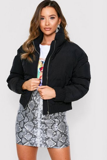 Black Sheer Detail Padded Bomber Jacket