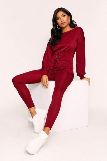 Wine Ribbed Belted Lounge Set