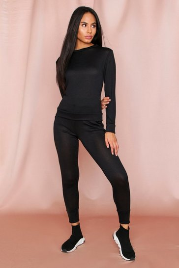 Black Crew Neck Lounge Set