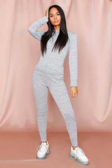 Womens Grey Crew Neck Lounge Set