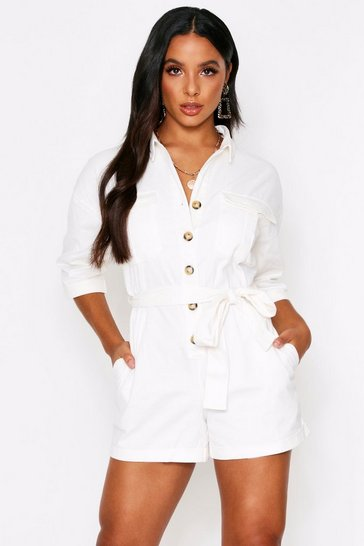 Womens Cream Oversized Button Playsuit