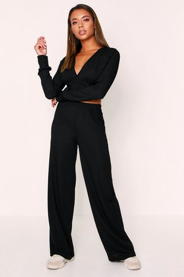 Womens Black Ribbed Plunge Lounge Set