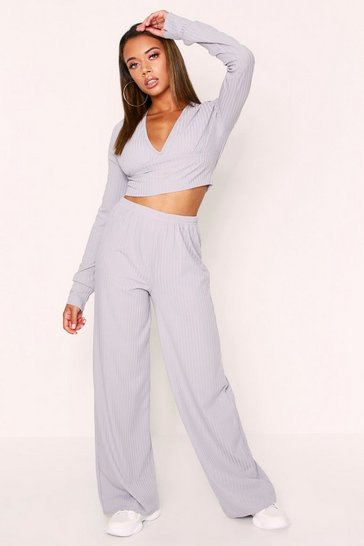 Womens Grey Ribbed Plunge Lounge Set