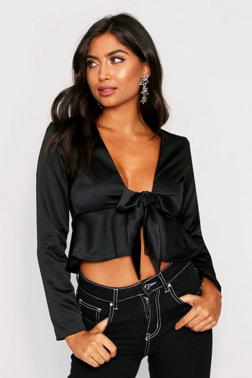 Womens Black Satin Frill Hem Tie Top