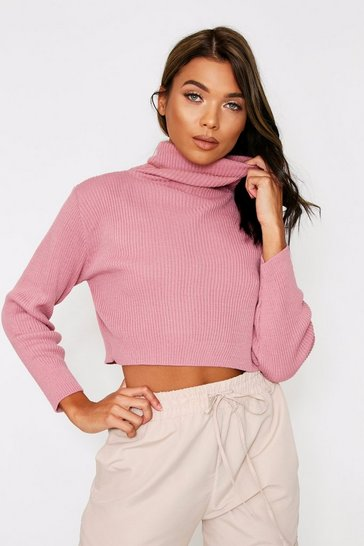 Blush Turtle Neck Knitted Top