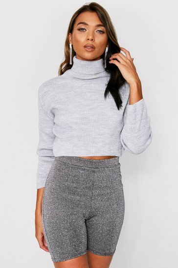 Womens Grey Turtle Neck Knitted Top