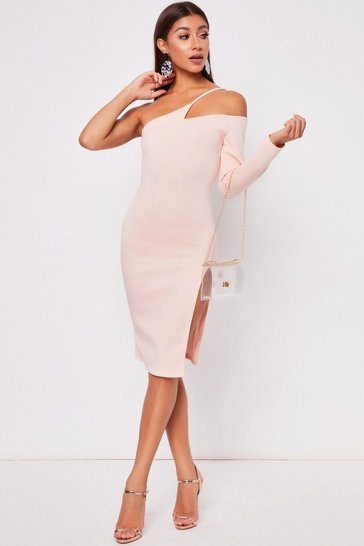 Womens Blush One Shoulder Mini Dress