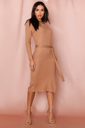 Camel Thick Rib Belted Midi Dress