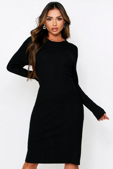 Black Knitted Rib Midi Dress