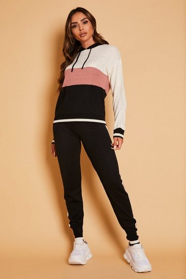 Black Striped Colour Block Hooded Lounge Set