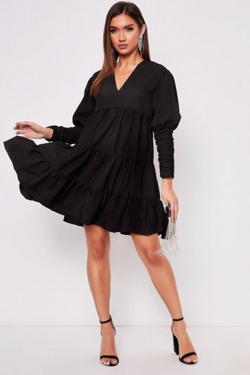 Womens Black Tiered Dress