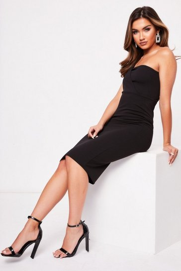 Womens Black One Shoulder Midi Dress