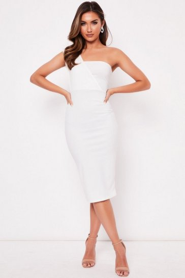 Womens Cream One Shoulder Midi Dress