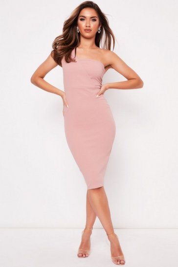 Womens Rose One Shoulder Midi Dress