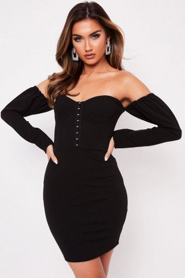 Womens Black Bardot Hook and Eye Dress