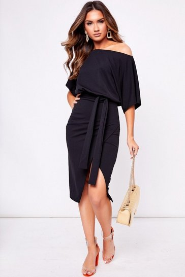 Womens Black Belted Midi Dress