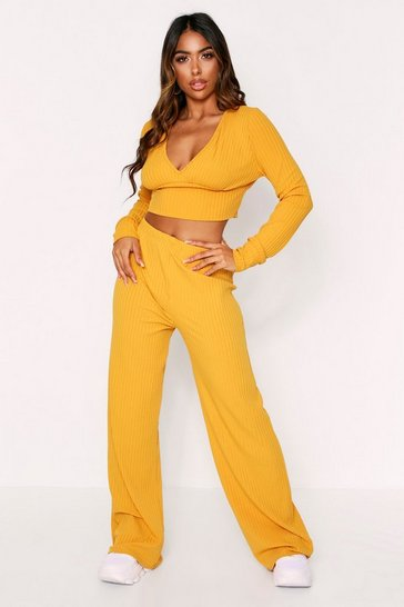 Womens Mustard Ribbed Plunge Lounge Set