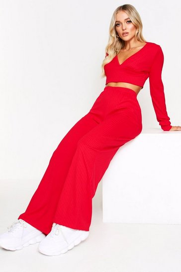 Womens Red Ribbed Plunge Lounge Set
