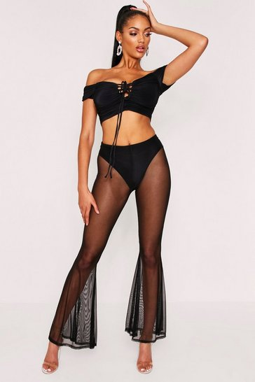 Black Mesh Flair Trouser