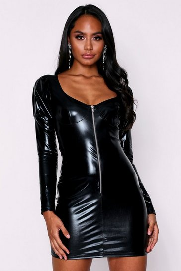 Black Vinyl Zip Front Dress