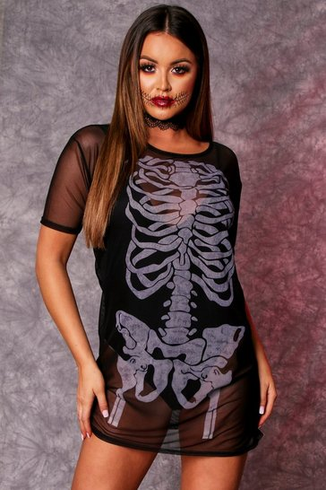 Womens Black Skeleton Mesh T-Shirt Dress