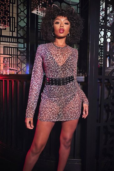 Womens Brown Leopard Mesh Bodycon Dress
