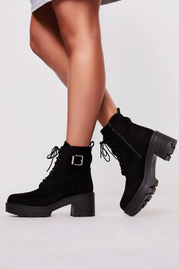 Womens Black Suede Buckle Boot