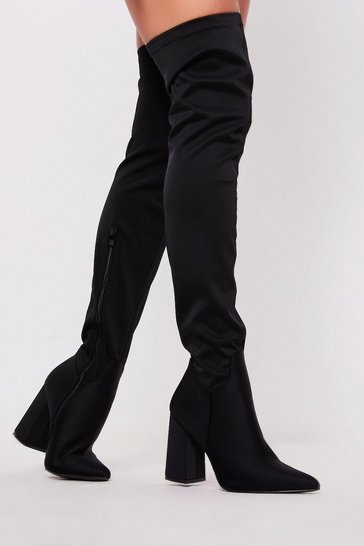 Womens Black Lycra Over the Knee Boots