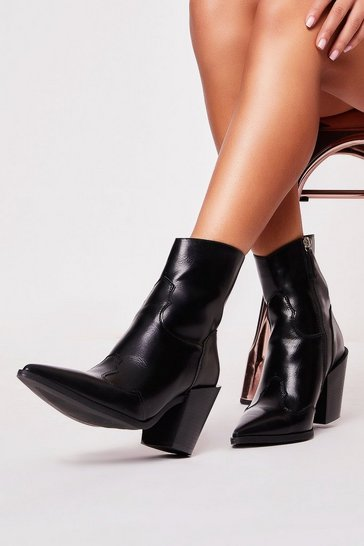 Womens Black PU Ankle Boots
