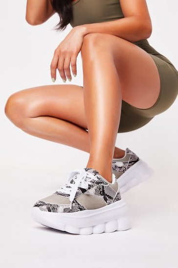 Womens Animal Chunky Trainers
