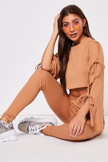 Womens Camel Tie Sleeve Ribbed Lounge Set