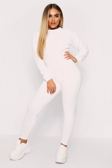Womens Cream Crew Neck Ribbed Lounge Set